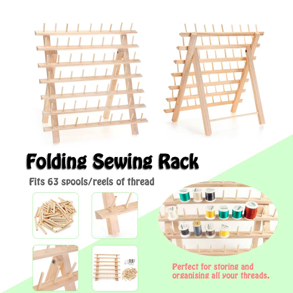 KIWARM 63 Axis Small Line Smaller Spool Wooden Folding Sewing Rack Log Color Wire Roll Frame Free standing 39x18x37cm