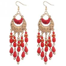Women Fashion Moon Shape Teardrop Earrings Tassels Hollow Out Earrings
