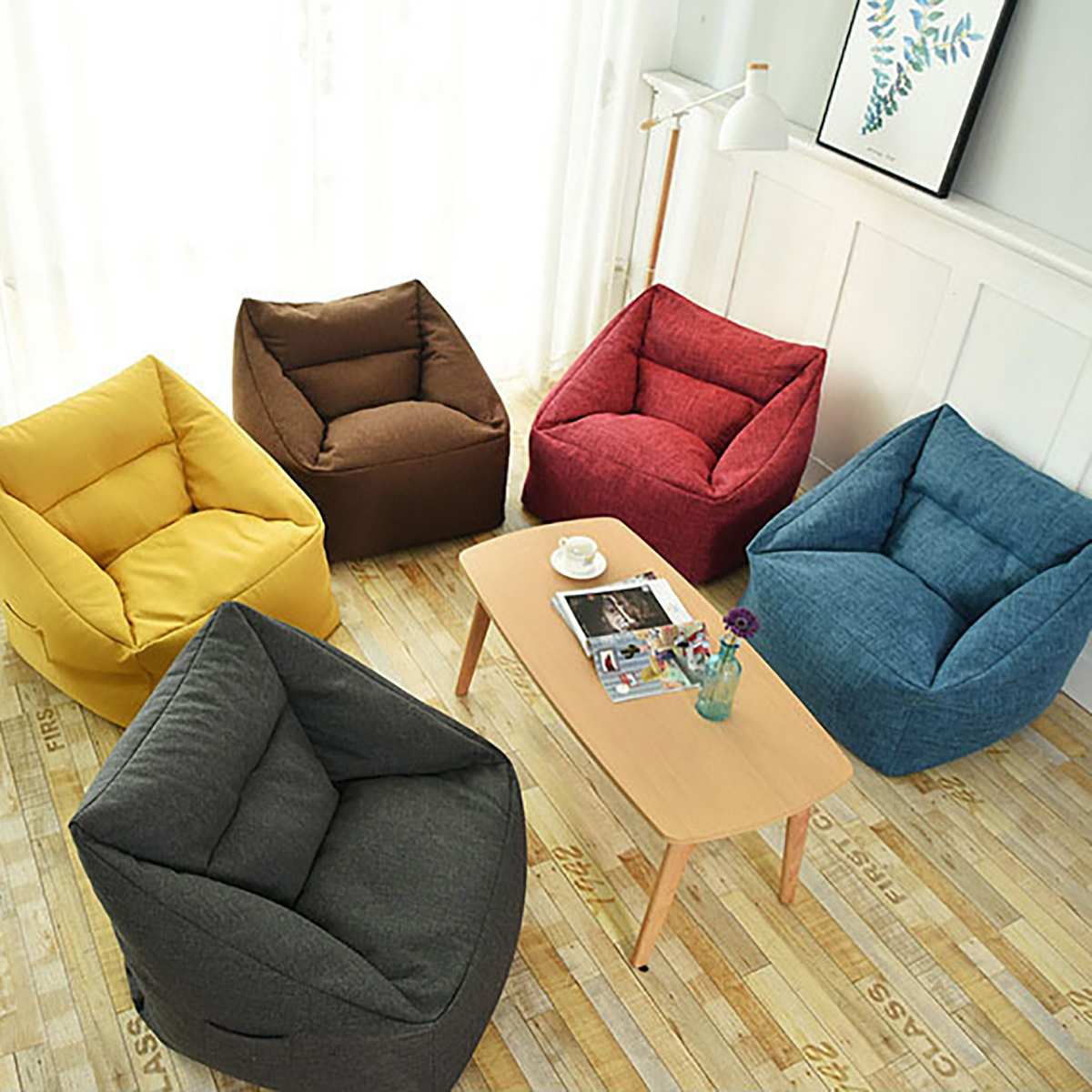 Waterproof Beanbag Chair Lazy Sofa Indoor Seat Chair Cover ...