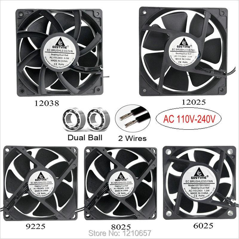 1pcs Gdstime AC 110V 115V 120V 220V 240V 2Pin Dual Ball Bearing EC Brushless Cooling Fan 80mm x 25mm 92mm 120mm 60(China)