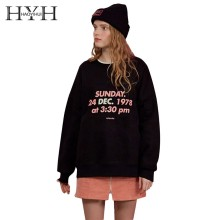 HYH HAOYIHUI 2019 New Girl Pure Color Letter Printed Embroidered Plus Velvet Hoodie