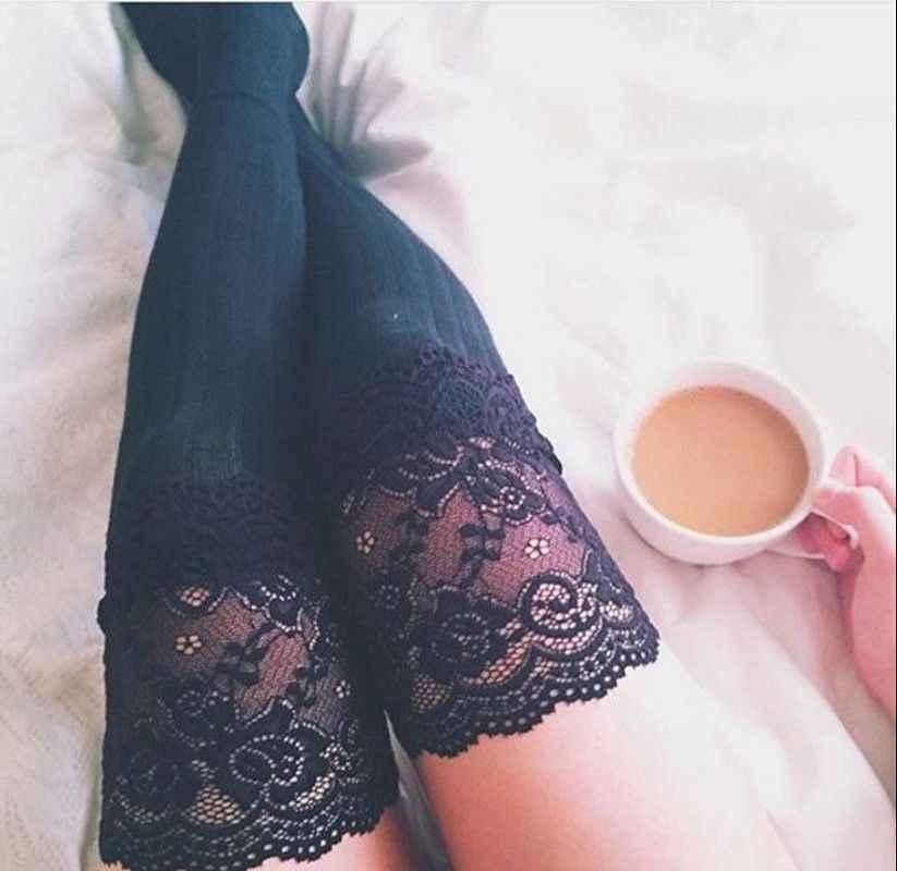 2019 ผู้หญิงใหม่ฤดูหนาวสีดำสายถักเข่าเข่า Boot ยาวต้นขาสูงถุงน่องอบอุ่นถักลูกไม้ถัก leggings