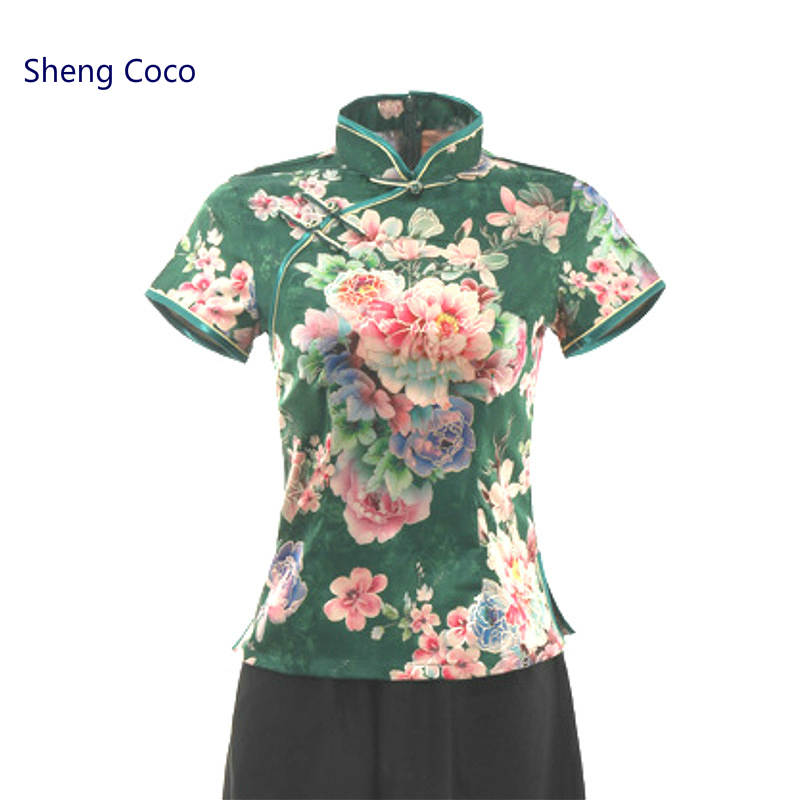 Sheng Coco Women Chinese Style Tops Green Cheongsam Tops Silks Satins Chinese Shirt Elegant Peony Printing Tops Chinese Clothes