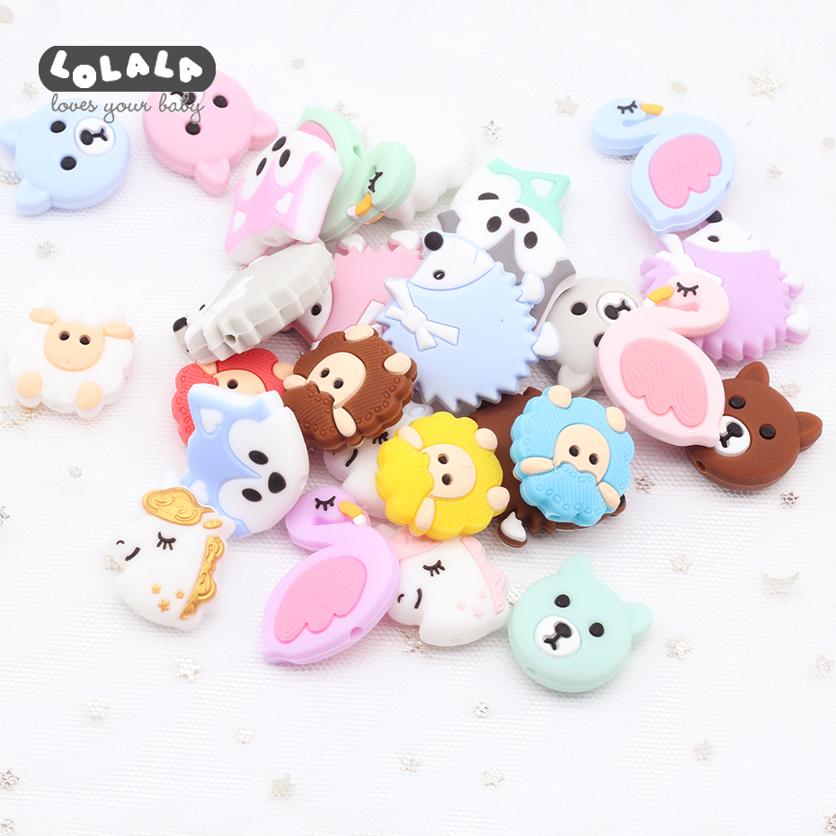 5pc Silicone Teething Rodent Mini Bear Sheep Food Grade Silicone Beads DIY Nursing Accessories Swan Dog Beads Baby Teether Gifts