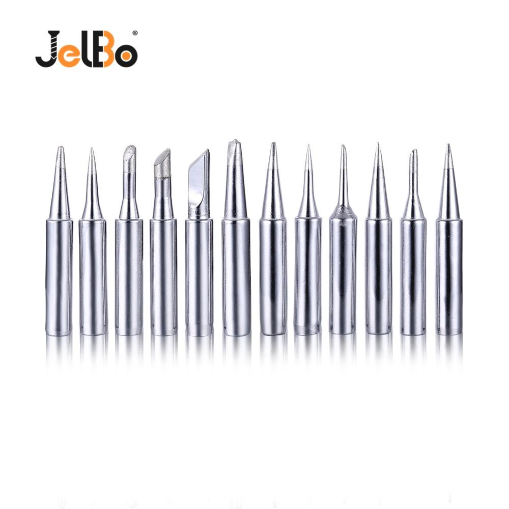 JelBo 12Pcs Electric Soldering Iron Tip Set 60W 900M-T-B Conical Soldering Gun Tip For P36 Solder Station Welding Tips Tool Kit