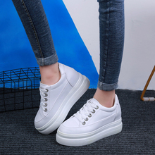 Platform White Sneakers Women Flats Shoes Chunky Spring Wedge 2019 Board basket femme trainers