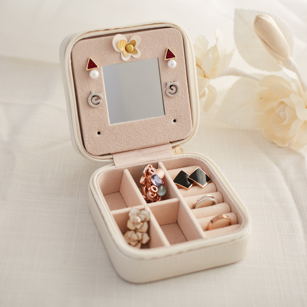 Small Portable Makeup Pouch Travel Jewelry Box with Mirror S