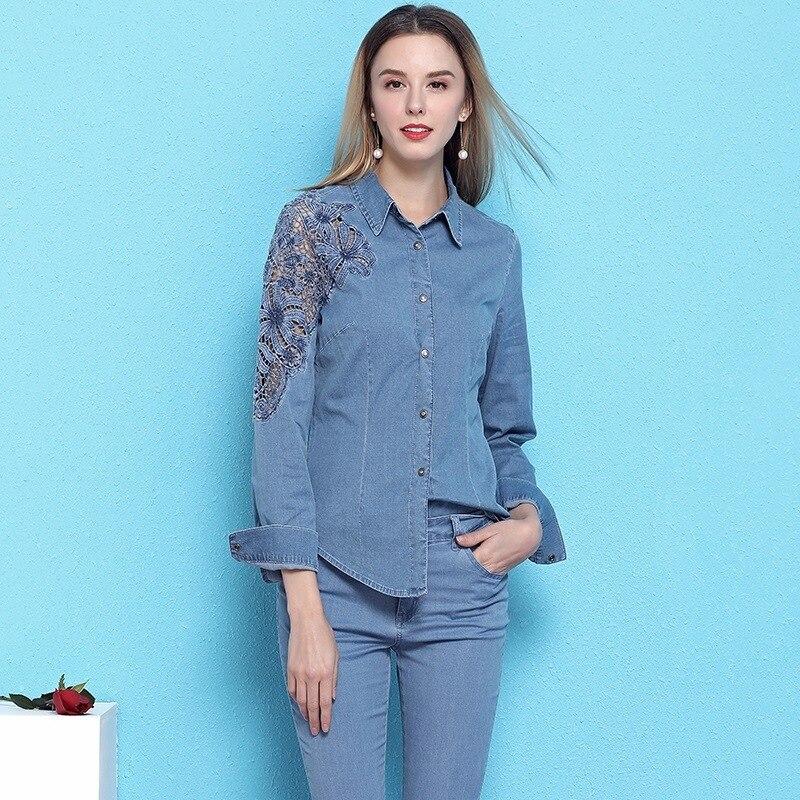 2019 lente en zomer nieuwe collectie damesmode hol uit denim shirt lange mouwen afslanken casual OL blouses NW19B6033 - 2