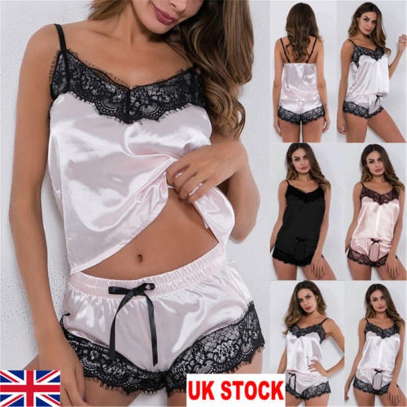 2Pcs Women Sexy Satin Lingerie Underwear Babydoll Nightwear Sleepwear Strap Solid Color Lace Set