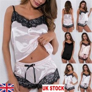 2Pcs Women Sexy Satin Lingerie Underwear Babydoll Nightwear Sleepwear Strap Solid Color Lace Set(China)