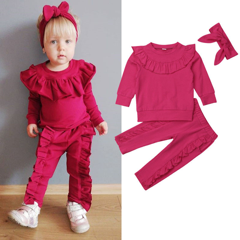 c4eccf80bedb 2018 New Autumn Cute Infant Kids Baby Girls Clothes 3PCS Ruffles Sleeve  Solid Pullover Tops+