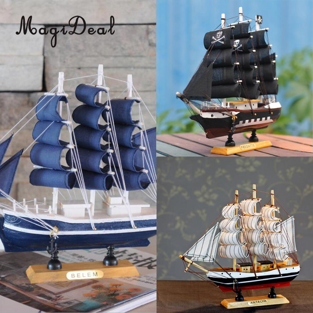 9.5 Inches Handcrafted Nautical Wooden Pirate Ship Sailboat Boat Model For Home Office Desk Table Decoration Friends Gift Toy