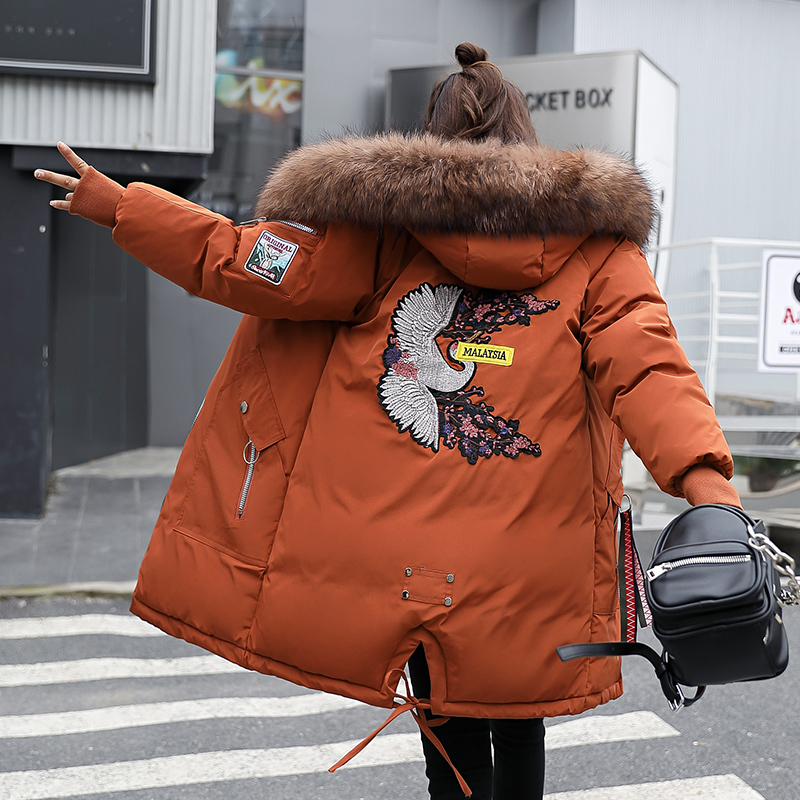 Loose Coat Winter Collar Cotton Orange White Pink   Parkas   Female Windbreaker Fashion Embroidery Thickening Long Hooded Jacket