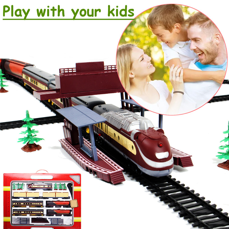 Large Electric Modern Long Train Rail Vehicle Model Simulation Station Track Car Operated Carriages Locomotive Kids Toys Set New