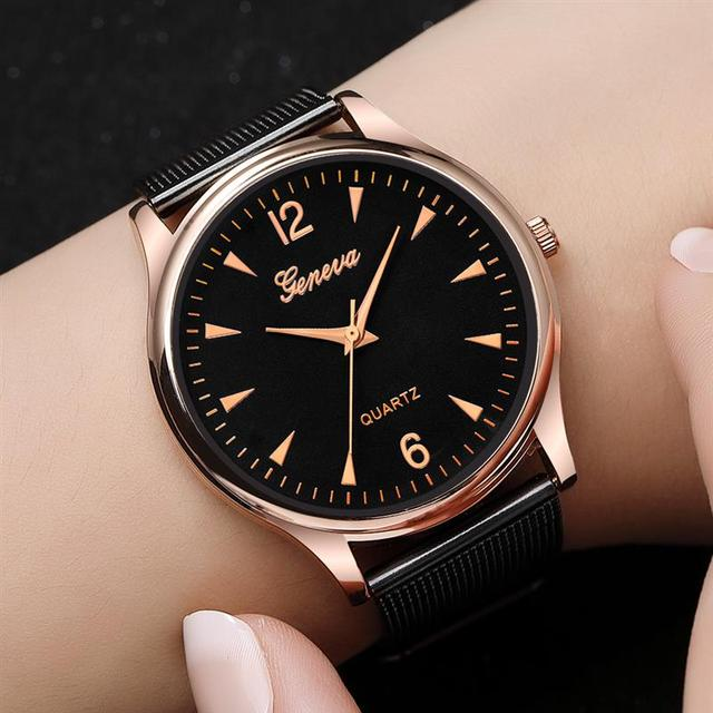 2018 GENEVA Women Luxury Dress Watch Mesh Stainless Steel Quartz Wristwatch Lady Minimalist Watch Female Clock Reloj Mujer XFCS
