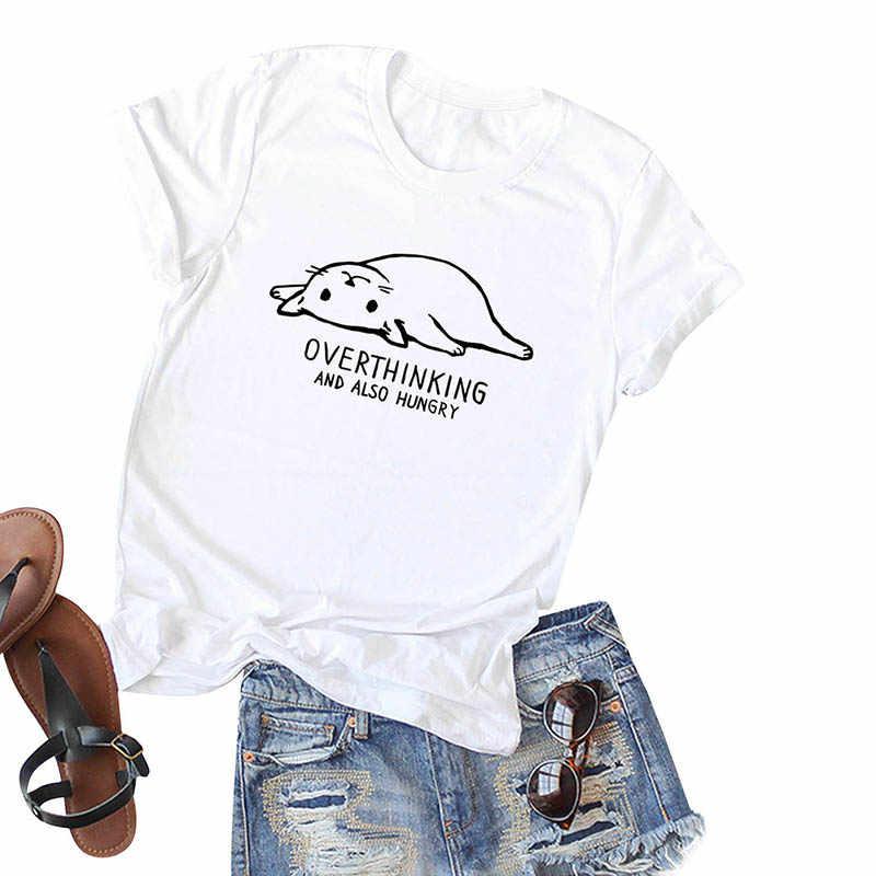 Romacci נשים רחב מימדים חולצה ניגודיות חתול מכתב הדפסה בתוספת גודל כותנה T חולצה O צוואר קצר שרוול יפה מזדמן קיץ למעלה