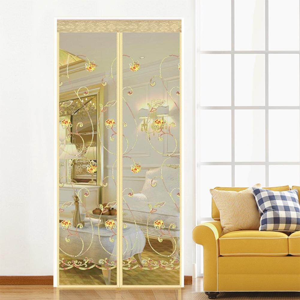 Ímã bordado mosquito net verão anti-mosquito malha cortinas magnéticas fio macio porta tule janela tela