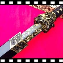 KungFu chinois, épée de combat tête de tigre de la dynastie Han, lame noire/dorée, WuShu Jian Sharp 1090 en acier à haute teneur en carbone