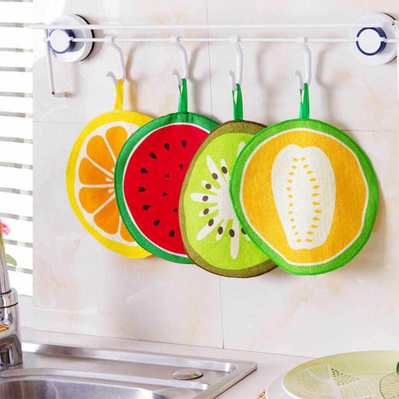 Полотенце для рук, салфетка для мытья посуды, круглый в форме фруктов, Многофункциональный Детский носовой платок 20 см, кухонные подвесные полотенца
