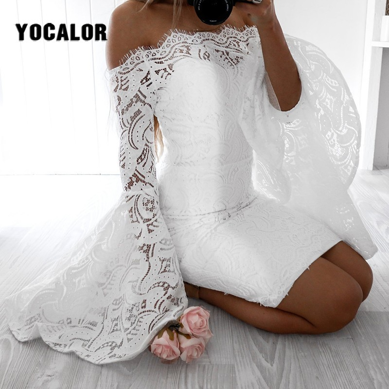 2019 Off Shoulder Lace <font><b>Women</b></font> <font><b>Sexy</b></font> Summer Skater <font><b>Dress</b></font> Robe Flare Sleeve <font><b>Bodycon</b></font> <font><b>Dresses</b></font> For Party Elegant <font><b>Dress</b></font> Vestido De Festa image