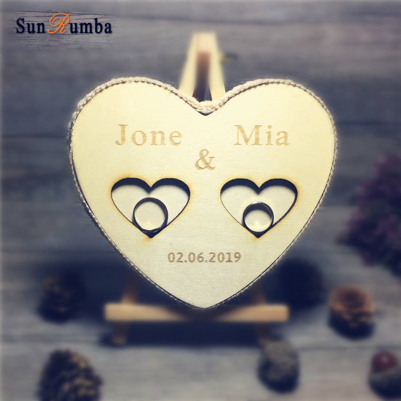 1pcs Personalized Custom Wooden Ring Pillow Holder Rustic Wedding Decor Vintage Party Engagement Decoration Ring Pillows Bearer in Party DIY Decorations from Home Garden