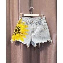 Women Fashion Printing Denim Shorts 2019 Summer Loose Burrs High Waist Jeans Short Casual