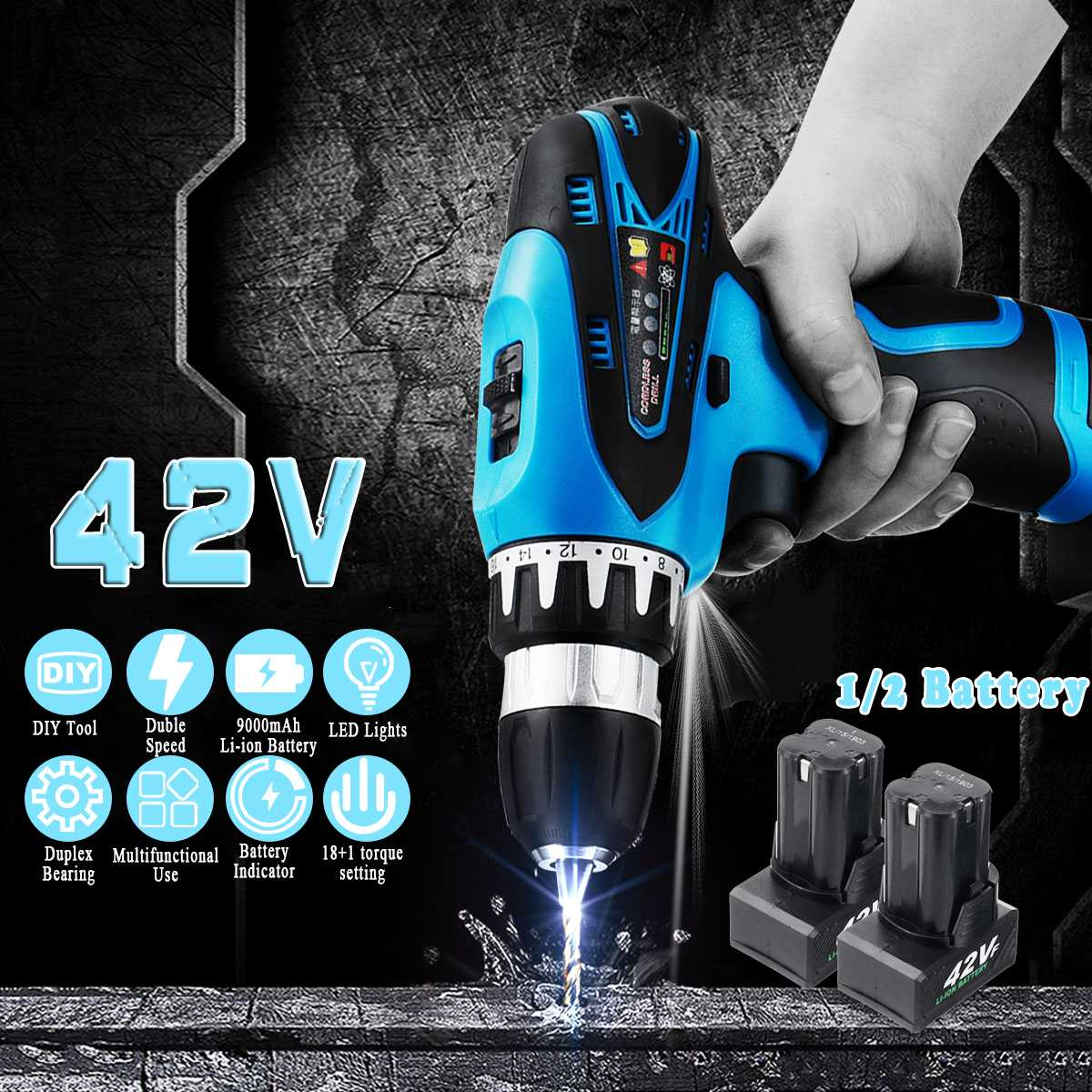 Electric Drill Screwdriver 42V Cordless Drill Adjustment 2-Speed Torque Rechargeable LED Lighting With1/2 Battery Power Tools