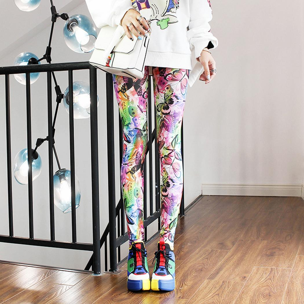Pants Waist-Leggings Print Elastic Colorful Casual Women Long All-Seasons Full-Length