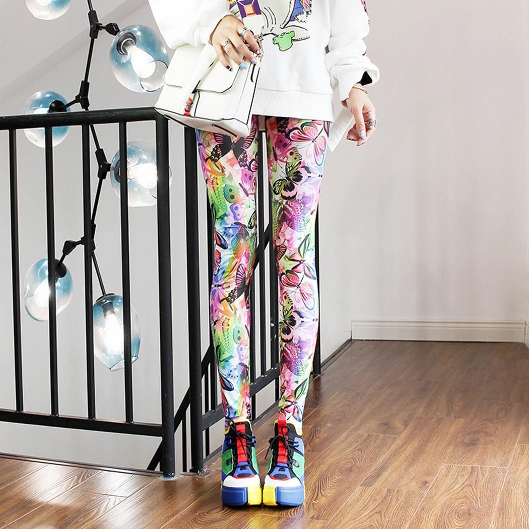 Women Casual Colorful Print Elastic Waist   Leggings   Long Full Length Pants Multicolor All Seasons