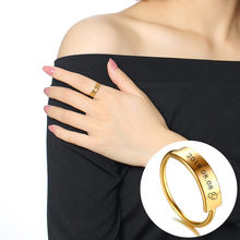 6320f4f416 Vnox Customize Engraving Name Women Ring Gold Color Stainless Steel  Personalized Gift for Anniversary Birthday