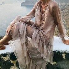 فستان كلاسيك أنيق بأكمام طويلة وكرانيش شيفون راقية