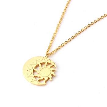 Colgante Vintage de sol y luna de acero inoxidable, cadena de luna creciente, collar para mujer, regalo de joyería