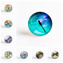 5PCS/LOT Handmade 25mm Round Glass Cabochon Dragonfly  DIY Photo Cameo Setting Supplies Making for Jewelry Accessories
