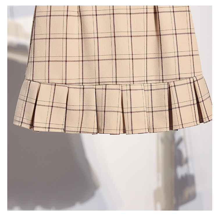 2019 spring new Korean fashion lantern long sleeve shirts amp plaid Skirts two piece women clothing set vestido top outfit S M L in Women 39 s Sets from Women 39 s Clothing