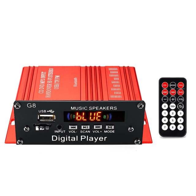 100+100W 12V Audio Amplificador HIFI Audio Power Amplifier bluetooth Stereo for Car Music Amplifiers FM Radio USB/TF/AUX G8