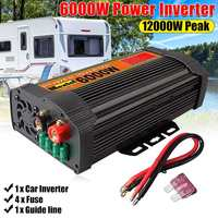 Utility Inverter 12V 110V 12000W Peaks Auto Modified Sine Wave 6000W Voltage Transformer Power Inverter Converter Car Charge USB
