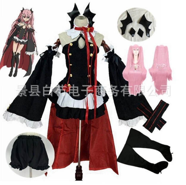 Anime Seraph Of The End Cos Krul Tepes Cosplay Costume Lolita Dress Uniform Comic Con Krul Tepes Outfit With Headwear Full Set
