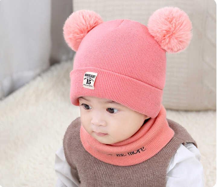 924ab251bbc ... 2pcs Set Casual Newborn Baby Boy Girl Winter Warm Cap Scarf Sets Double Fur  Pom Bobble