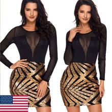 f56c226baa 2019 Sexy Long Sleeve Gold Sequins Dress Women V-Neck Mesh See Through  Dress Bodycon Summer Lady Evening Party Mini Short Dress