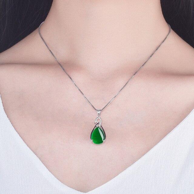 S925 Sterling Silver Women's Necklace Corundum Pendant Jade Turquoise S925 Collarbone Jewelry Jade Pendant Gemstone Bizuteria 1