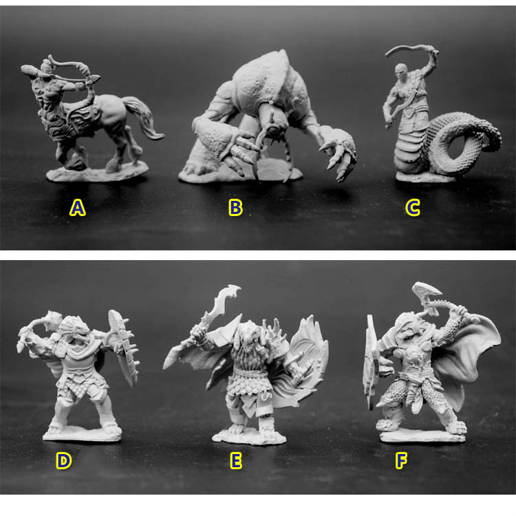 Resin Model Figures Dungeons And Dragons DND 1/72 Scale Model Fantasy Magic Figure Monsters Lizard People Albuginea Diy Kit Toys