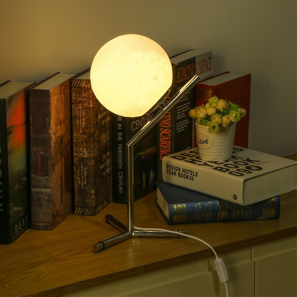 3d печатная Луна Ночная спальня настольная лампа Led Moontop настольная ночник 3 Вт Usb Съемная лампа для учебы для гостиной дома деко - 4