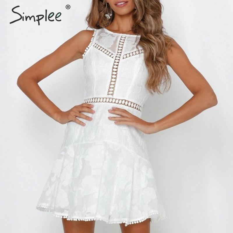 Просто, элегантно кружевное платье с открытой спиной женщин o-образным вырезом без рукавов выдалбливать Короткие свадебные платья Летние ц...