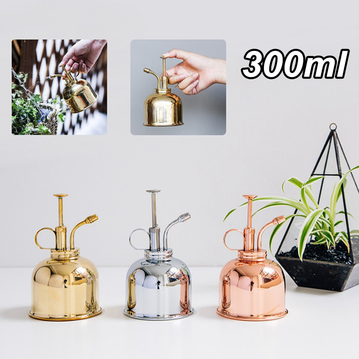 Vintage Plant Water Spray Bottle Mini Brass Home Plant Plunger Spray Watering Can Potted Spraying Tool Desktop Decoration Water Cans     - title=