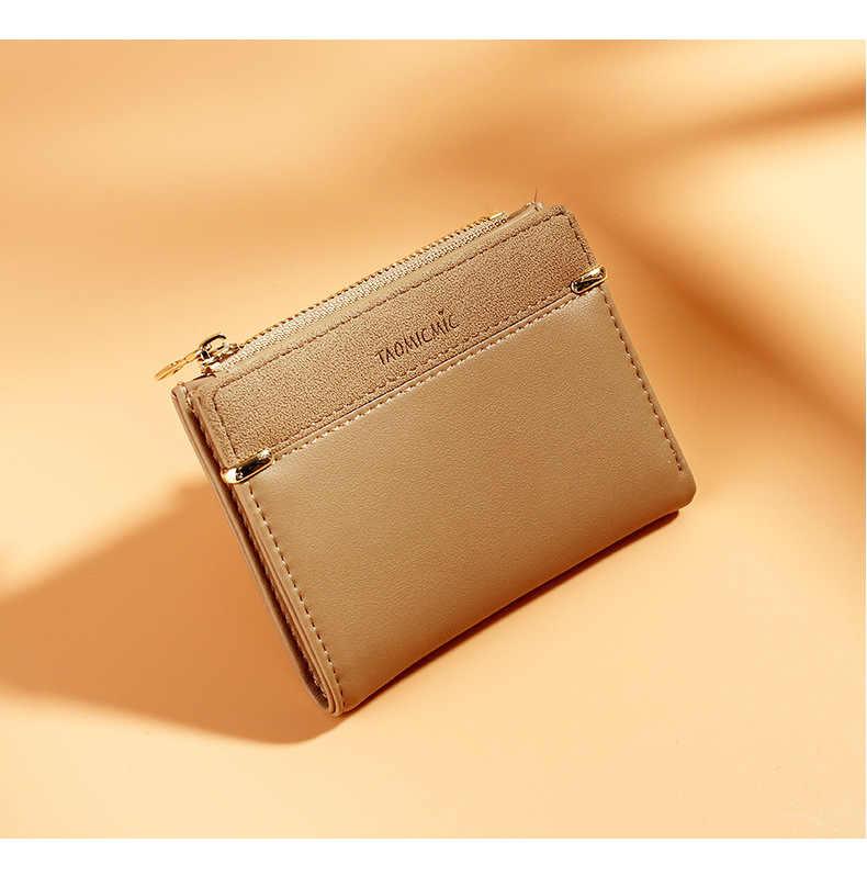 Estilo coreano Mulheres Curto bolsa de Moedas de Moda Multi Titular do Cartão Slots Fresco Pequena Carteira Da Senhora Patchwork Mini Clutch Bag Para meninas