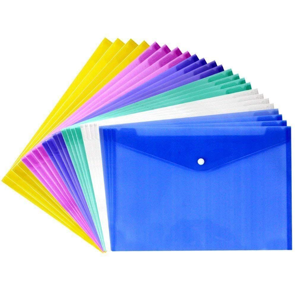24 Pcs Waterproof With Snap Button Closure,Project Envelope Folder Button - Water/tear Resistant (24 Pcs Pack)