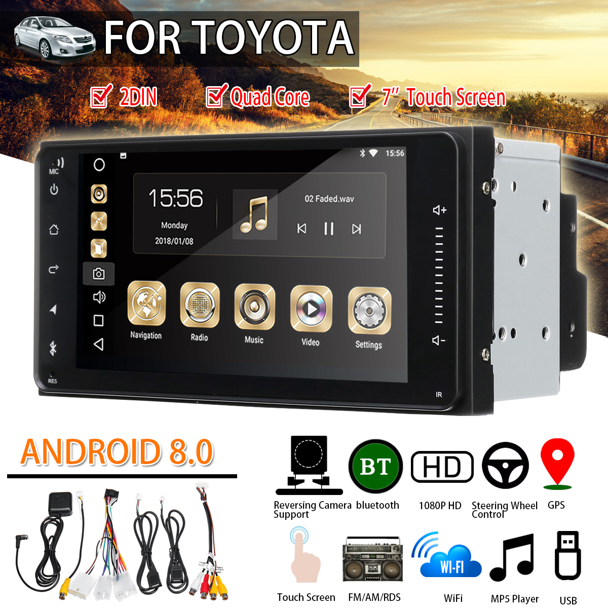 Car Multimedia Player 7 for Android 8 for Toyota Car Stereo 2DIN Blutooth WIFI GPS Nav Quad Core Radio Video MP5 PlayerCar Multimedia Player 7 for Android 8 for Toyota Car Stereo 2DIN Blutooth WIFI GPS Nav Quad Core Radio Video MP5 Player