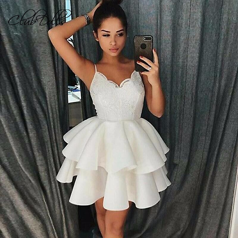 Strap Fluffy   Cocktail     Dresses   2019 Strap Sleeveless S   Cocktail     Dresses   Lace V-neck Mini Lace Flowers Party Homecoming   Dresses