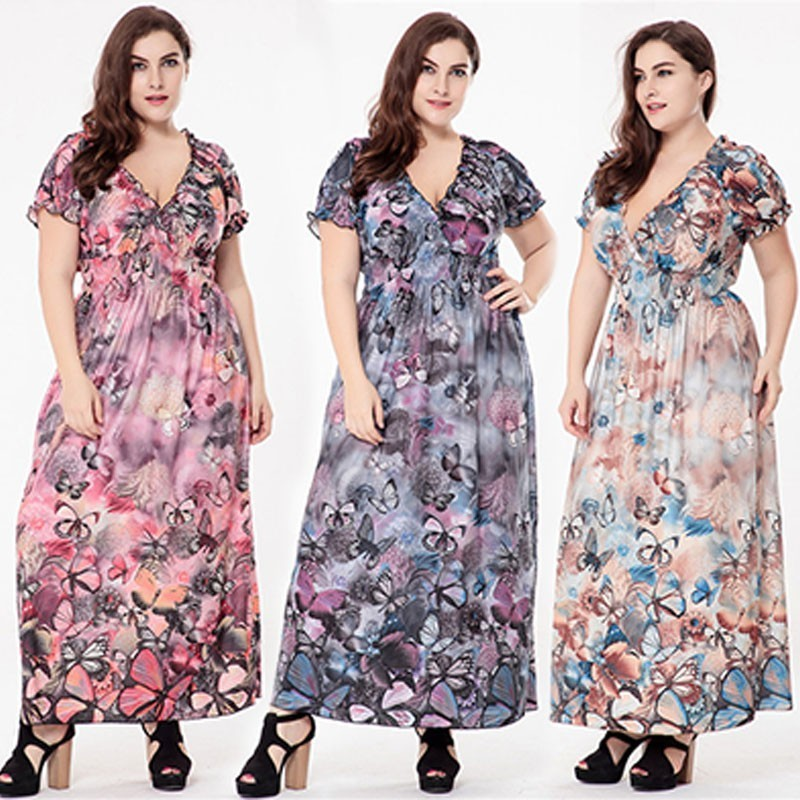 Detail Feedback Questions about Plus Size Evening Dresses Long 2018 Modern  Flower Printed A line V neck Short Sleeve Chiffon Maxi Beach Party Gowns for  ... 9381b86d5bfd