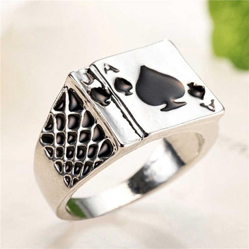 โป๊กเกอร์แหวนผู้ชายเครื่องประดับ Silver Chunky สีดำแหวนผู้ชายแหวนหมั้นแหวนสำหรับงานแต่งงานแหวนหญิงของขวัญ